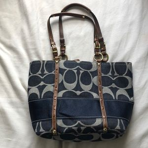 Coach Navy and leather monogrammed purse